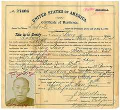 Chinese laborer certificate